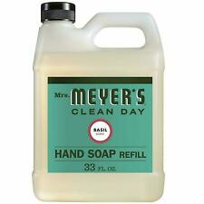 (2) Mrs Meyers Liquid Hand Soap - Natural Essential Oil Basil Scent Body 33 Oz.
