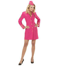 Womens Ladies Pink Air Hostess Flight Attendant Fancy Dress Costume Outfit Xs