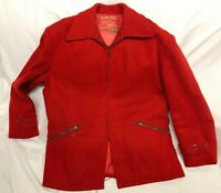 Vintage Woolmaster Hunting Coat Soo Woolens Red Wool Jacket Zipper Mens Size S/M