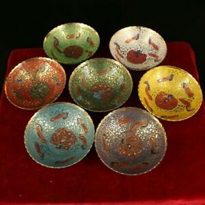 Collect Nepal Buddhism pure copper painted pattern Offering Water Bowl cup 7pc