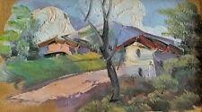 antica MINIATURA dipinto olio  Cornice Preziosa Paesaggio C. Barbato