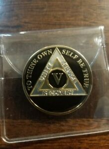 """5 Year AA Coin BLACK, Gold, Silver 1⅜"""" Traditional Sz Recovery Five V in Sleeve"""