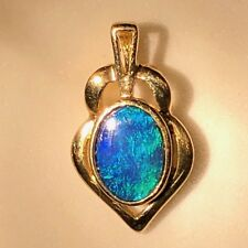 Petite Australian Fire Opal 14k Gold Blue ombre green Black Ladies Pendant