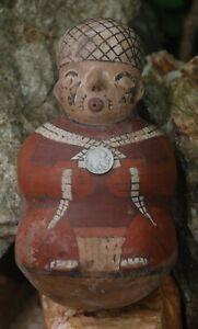 Pre-Columbian ~ NAZCA / NASCA ~ Pre-Colombian Anthropomorphic STIRRUP Spout ~ NR