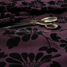 Nuevo Suave Textura Relieve Modelo Floral Silueta Diseño Púrpura Tapicería Telas