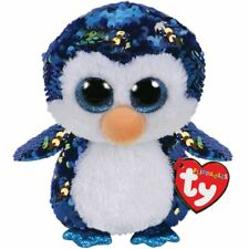 """Ty Flippables 10"""" Payton the Blue Penguin Color Changing Sequin Plush"""