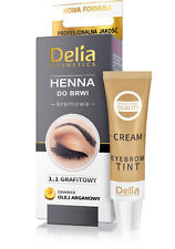 Delia HENNA Eyebrow & Eyelashes cream TINT GRAPHITE + argan oil 15 Applications