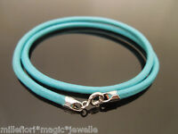 """3mm Turquoise Leather 925 Sterling Silver Necklace Or Wristband 16"""" 18"""" 20"""" 22"""""""