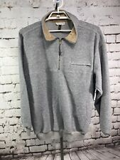 Norm Thompson Size XL Grey 1/4 Zip Pullover Long Sleeve Sweater Cotton & Leather