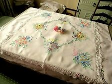 VINTAGE HAND EMBROIDERED LINEN TABLECLOTH=BEAUTIFUL VIBRANT FLORAL BOUQUETS/