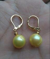 hot Really PERFECT 10-12mm AAA+ golden south sea pearl drop earring 14k