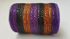 "4"" Black Purple and Gold Deco Mesh Ribbon"