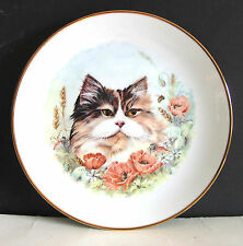 Cat with Poppy Flowers Decorative Plate Free Sh