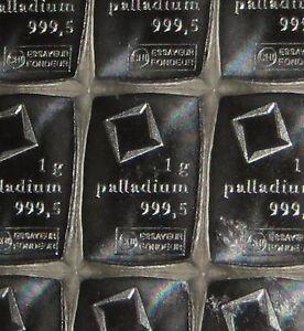 1 GRAM (1g) 999.5 FINE PALLADIUM VALCAMBI SWISS BULLION BAR (NOT GOLD OR SILVER)