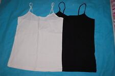 Junior Womens 2 LOT CAMI TANK TOP Solid Colors IVORY CREAM & BLACK Size XL 15-17