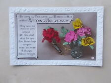 VINTAGE GREETINGS POSTCARD - THOUGHTS & WISHES ON YOUR WEDDING ANNIVERSARY