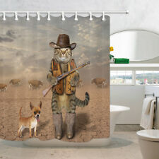 """3D Printed Cowboy Cat Chihuahua Dog and Cow Shower Curtain Waterproof Fabric 71"""""""