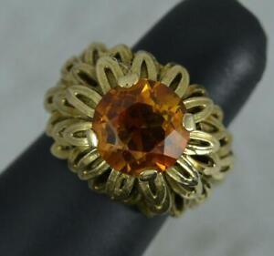 Impressive Heavy Retro 9 Carat Gold and Citrine Statement Ring