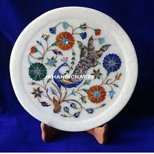 "9"" Marble Serving Plate Marquetry Lapis Lazuli Peacock  Inlaid Kitchen Decor"
