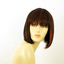 perruque femme 100% cheveux naturel carré méchée noir/rouge JACKIE 1b410