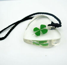 Real Cool Green Four Leaf Clover Lucid Heart Pendant Good Lucky Jewelry