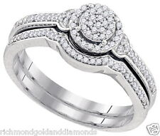 White gold Micor pave 1/4ct diamonds vintage style bridal wedding set rings NEW