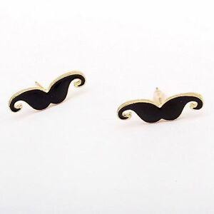 Funky Black Gold Mini Moustache Vintage Earring Chic Kawaii Ear Studs Earrings