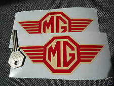 MG Red & cream 'straked' classic car stickers MG TF etc