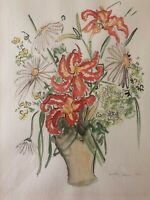 Dorothy Strauser Watercolor of Daisies & Other Flowers in A Vase
