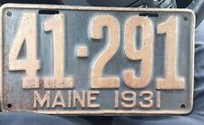 LICENSE PLATE 1931 Maine
