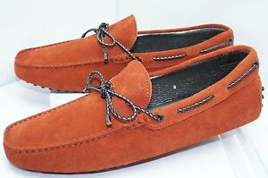 New Tod's Men's Shoes Drivers Loafers Size 9 Driving Moccasin Orange