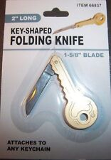 "MINI FOLDING POCKET KNIFE 2"" LONG 1 5/8"" BLADE, KEY SHAPED, KEYCHAIN KNIFE NIP"