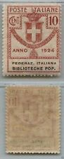 PARASTATALI - 1924 - 10 cent FEDERAZ. ITALIANA BIBLIOTECHE POP. (34) - MNH