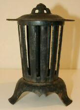 Antique CAST IRON Asian PAGODA LANTERN Patio Garden CANDLEHOLDER Japan Vintage