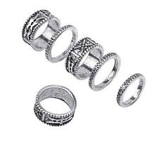 6x Boho Mens Women Armour Knuckle Carved Finger Shield Armor Ring Jewellery