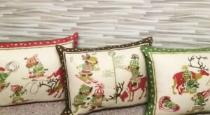 Pillow Christmas from Vintage MCM Scandinavian Air Placemat Natives Reindeer