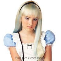 W425 Alice In Wonderland Fairytale Storybook Costume Blonde Blue Long Party Wig