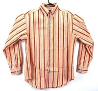Roundtree & Yorke Men's Long sleeve Orange with stripes Button-Up Shirt Size M