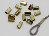 200 Dark Gold Metal Fold Over Teeth Crimp Tube 5X12mm Connector for 2mm Cord