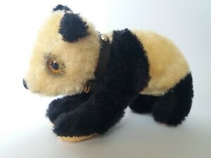 Vintage Mohair Panda Standing on All Fours,Hardstuffed, Glass Eyes,no ID