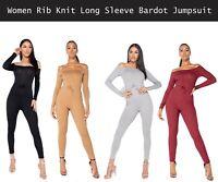 WOMENS LADIES SOFT KNIT RIBBED LONG SLEEVE RUFFLE BARDOT OFF SHOULDER JUMPSUIT