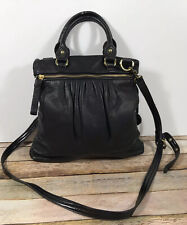 THE SAK Black Leather Crossbody Shoulder Bag Satchel