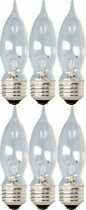 GE CA Type Light Bulbs 60W or 40W Incandescent Crystal Clear 6 or 12 Pack