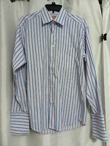 Thomas Pink Slim Fit Shirt size 17 Pink Stripe Cotton Romania  NWOT