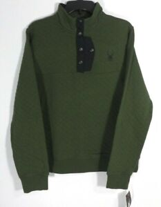 NWT Spyder Mens Albion Green Quilted Pullover Snap Button Jacket Size M  P1126