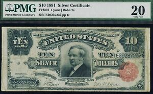 Fr. 301 1891 $10 Silver Certificate Tombstone PMG 20