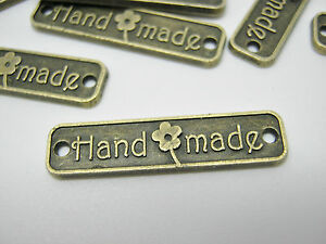 "10 Handmade Label Metal Tags 25mm (1"") Bronze Connector Handmade Crafts Label"