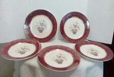 Century by Salem 5 Dinner Plates Bird of Paradise Maroon 23 Karat Encusted Gold