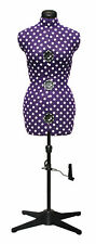 Purple Polka Dot 8-Part Adjustable Dressmaking Dummy UK 16-20 Adjustoform 5906B