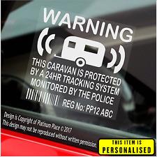 Caravana Pegatinas De Seguridad-Advertencia de dispositivos GPS Tracker, - número de registro impreso